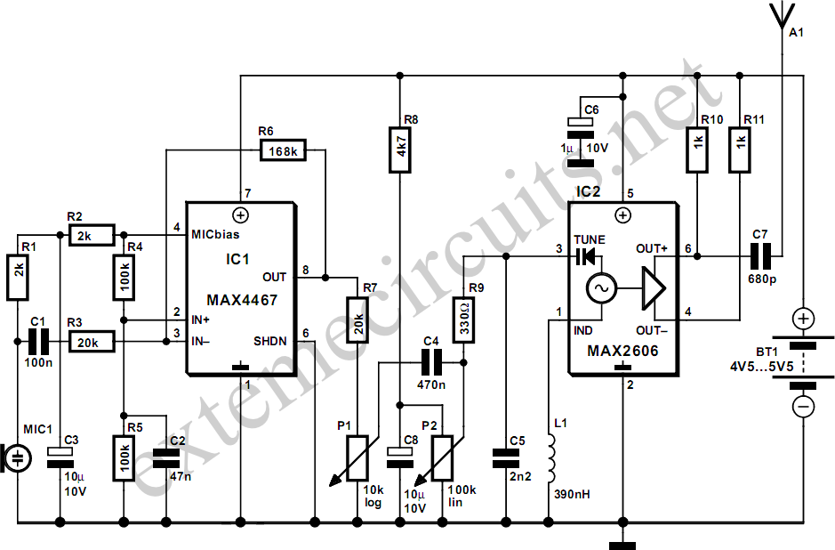 wireless microphone fm transmitter circuit
