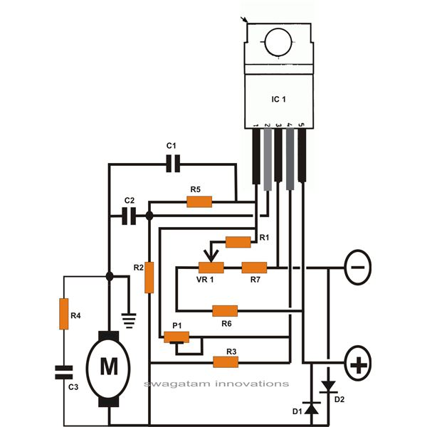 controlling dc motor speed using ic l165 schematic
