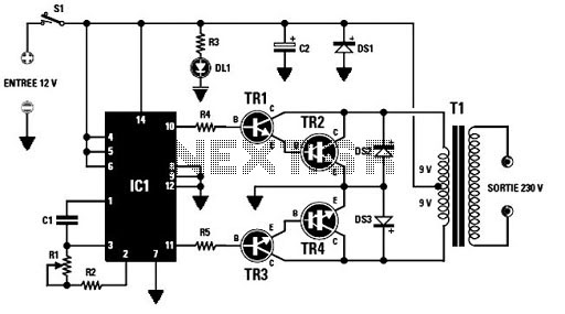inverter circuit 12vdc to 220v 50hz 500w schematic diagram