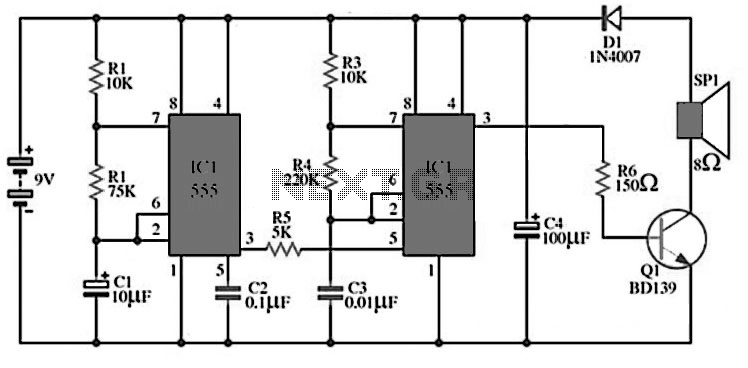 siren circuits using timer 555 schematic
