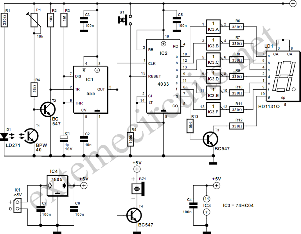 digital step km counter circuit schematic