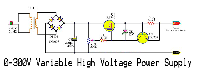 Here Is The Variable High Voltage Dc Power Supply Circuit Which We