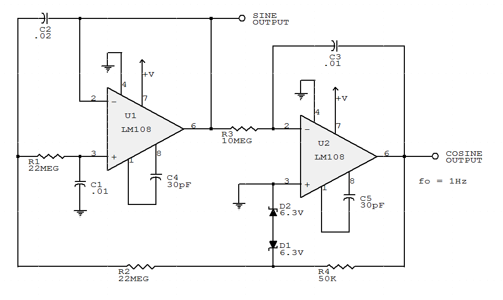 sine wave generator circuit using op amp