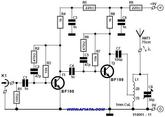 fm transmitter using upc1651 electronic circuits and diagram