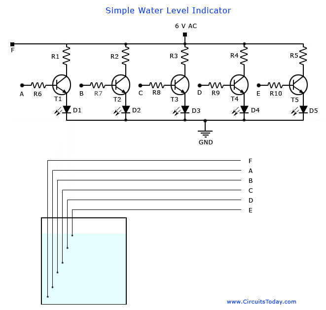 simple water level sensor or liquid level detector circuit diagram