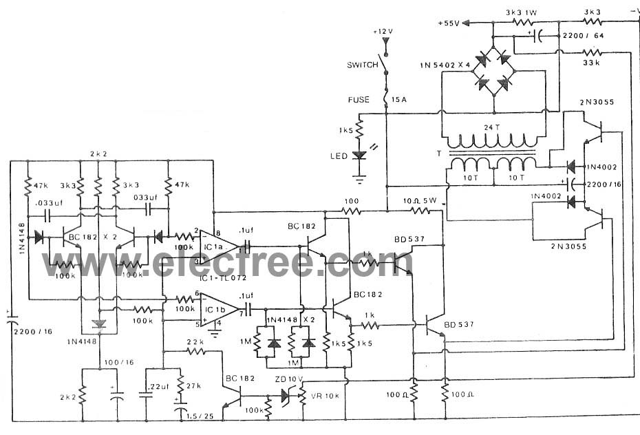 12v to 50v dc converter for car by tl072 2n3055