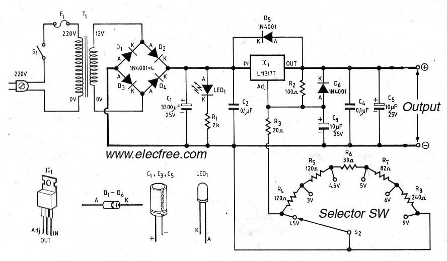 power supply 45 a with 3 lm317 in parallel