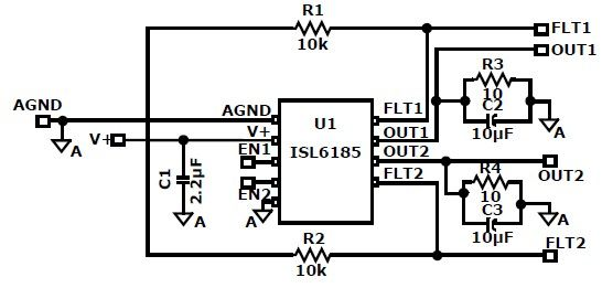 isl6185 usb power controller circuit design