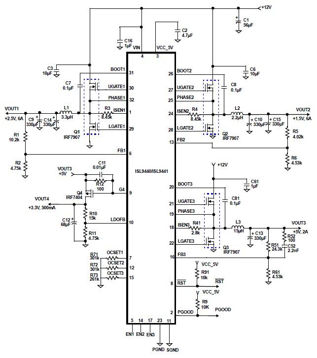 isl9440 quad output circuit power supply design