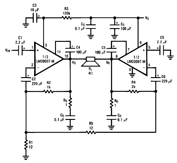 tda2050 bridge amplifier circuit diagram