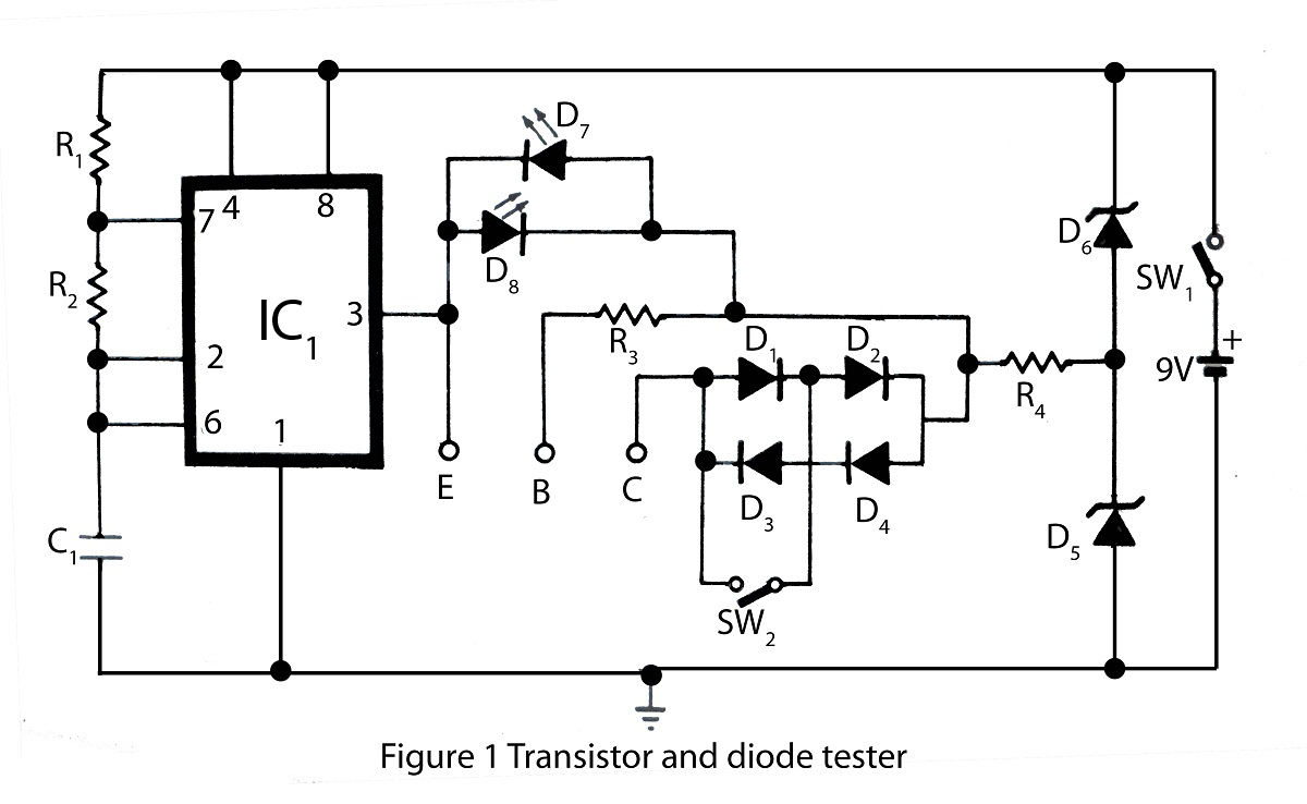 led and transistor tester