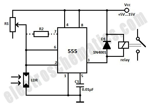 light sensitive alarm using ldr and timer 555