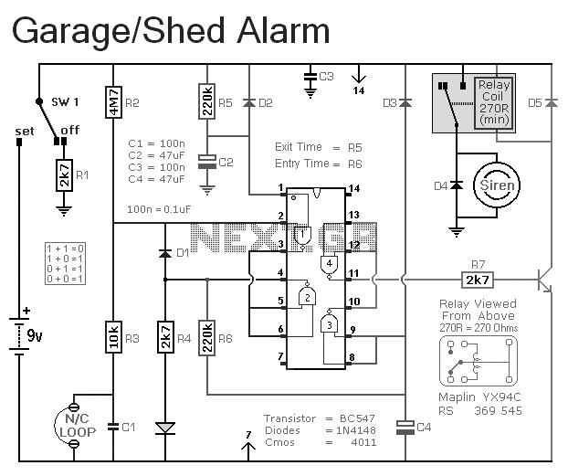 simple garage alarm circuit