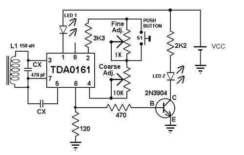 pin simple metal detector circuit diagram using cs209a