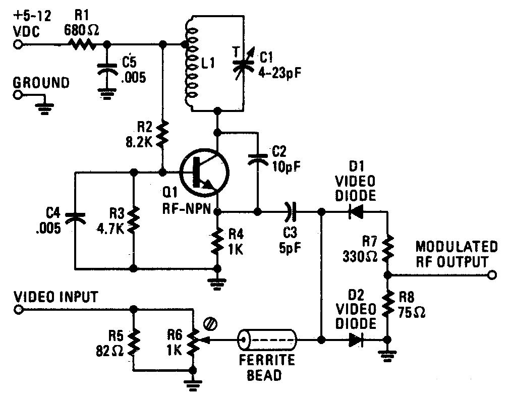 audio video to uhf tv signal converter modulator circuit diagram