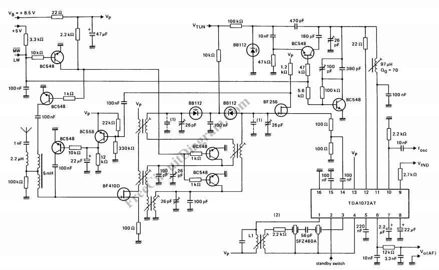 am radio receiver circuit using tda 1072at ic