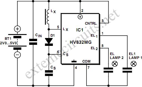el lamp driver using hv832mg circuit diagram