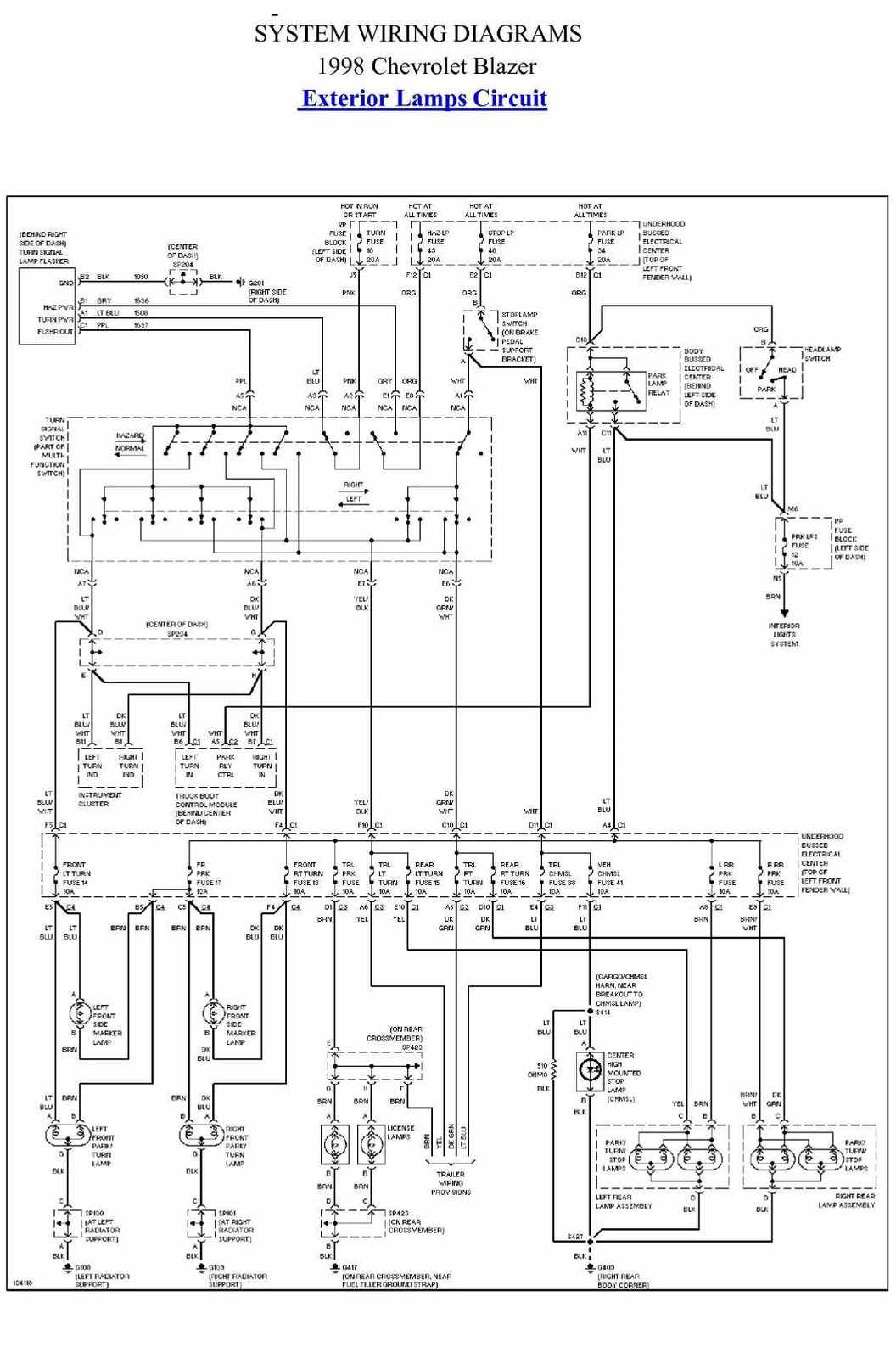1998 chevy blazer electrical wiring diagram