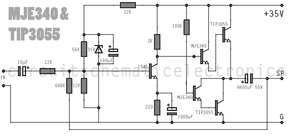 simple amplifier with c945mje340 and tip3055