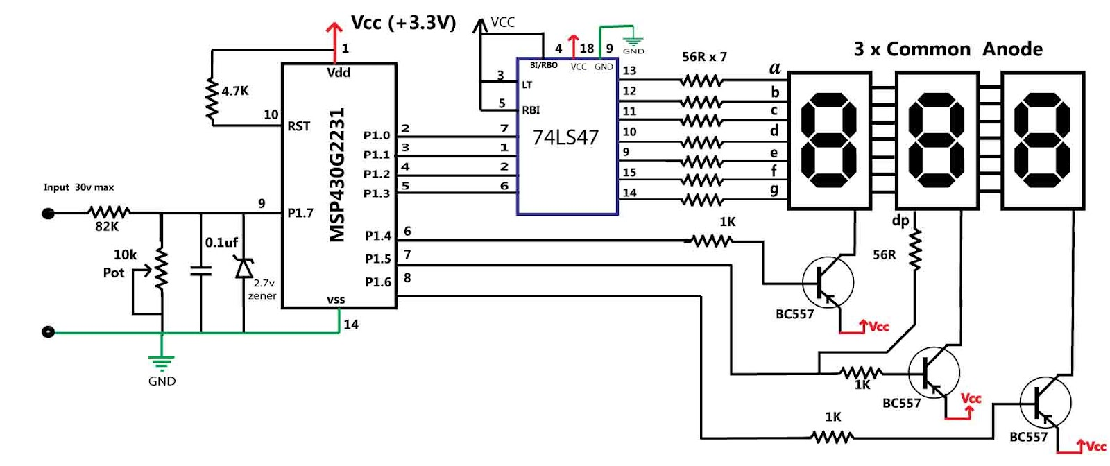 led volt meter circuit diagram