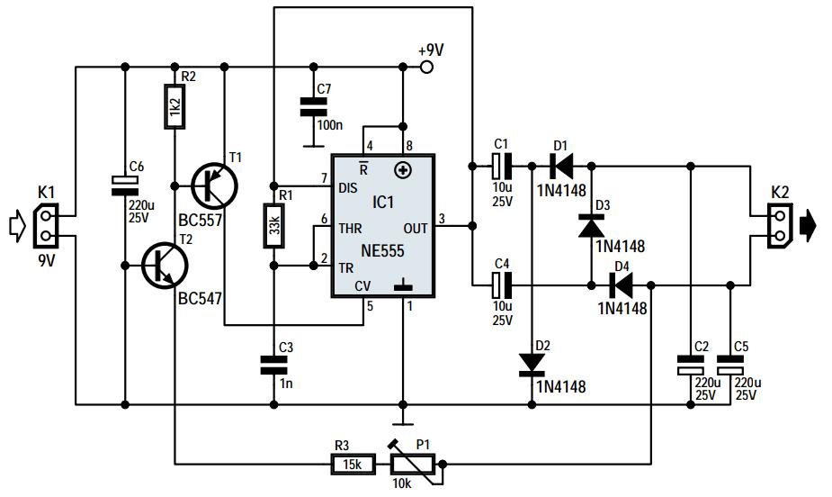 voltage doubler circuit using ne555