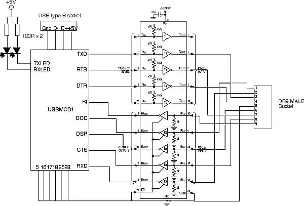 simple ttl rs232 level converter circuit schematic