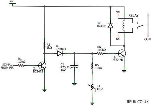 pir sensor circuit diagram using lm324
