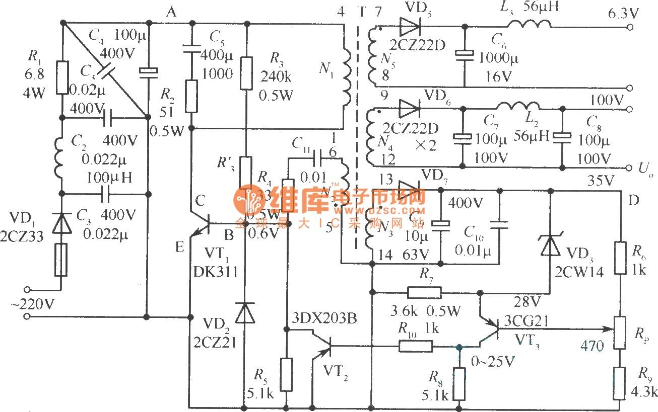 power supply circuit regulated votlage micro switching power supply