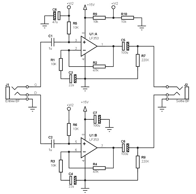 microphone preamp schematic circuit using op37 op amp