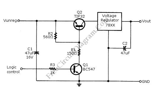 logic power control circuit diagram for 78xx regulator control