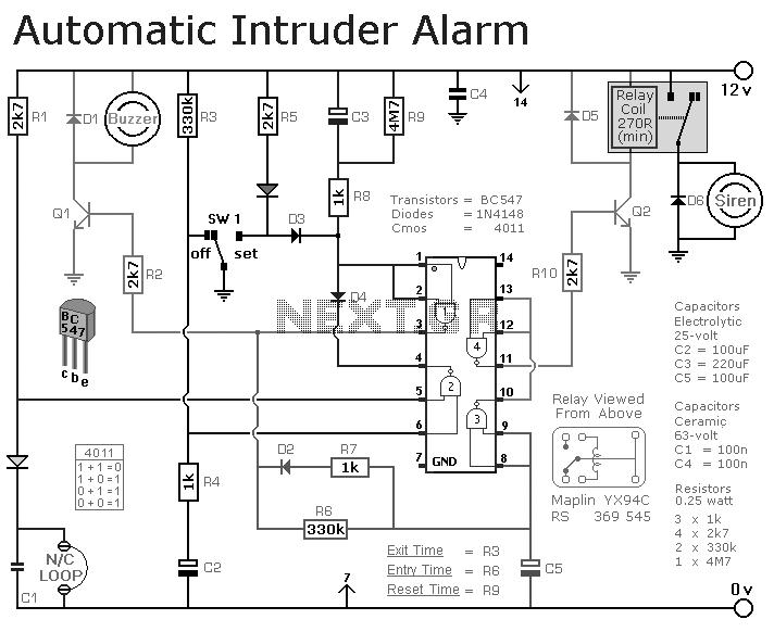 automatic intruder alarm wiring schematic
