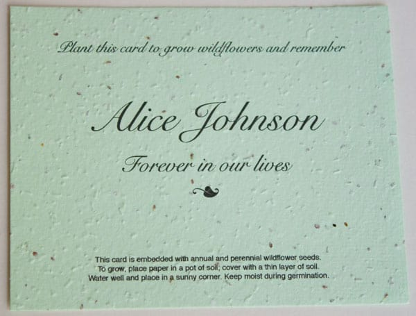 Plantable Seeded Wildflower Memorial Cards for Funeral, Memorial - memorial service invitation wording