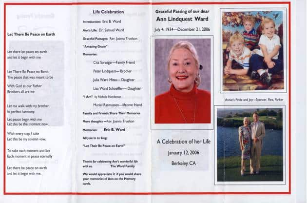 Memorial Program How to write a memorial program Free tips funeral - memorial program