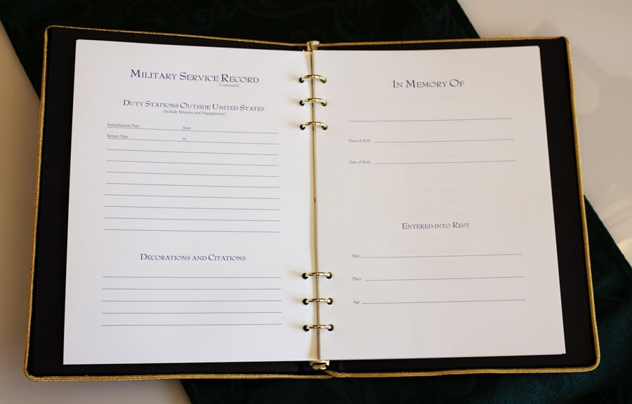 Military Funeral Guest Book Memorial Book with military emblem ribbon
