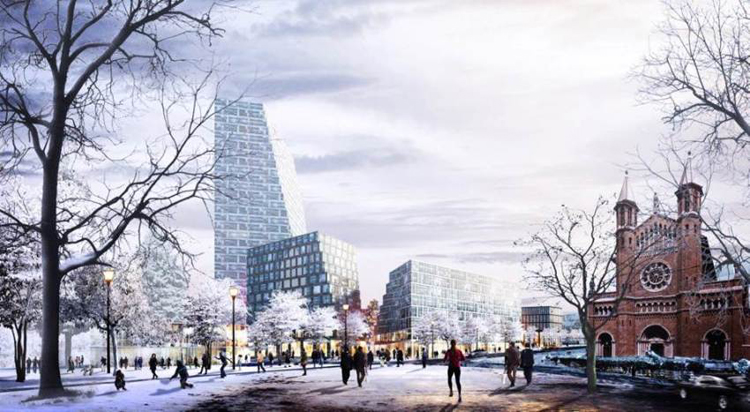 Washington Place reimagined as a pedestrian plaza. Courtesy Bjarke Ingels Group.