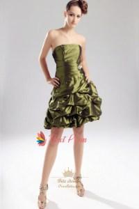 Olive Green Short Bridesmaid Dress, Strapless Olive Green ...