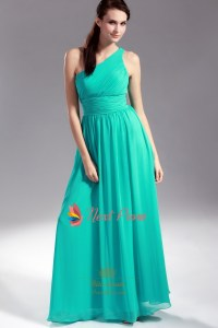 Jade Chiffon Bridesmaid Dresses, One Shoulder Pleated ...