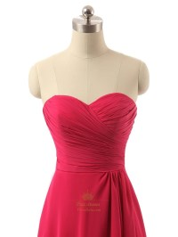 Red Long Strapless Chiffon Pleated Bodice Prom Dress With ...