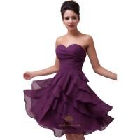 Purple Short Bridesmaid Dresses, Purple Tea Length ...
