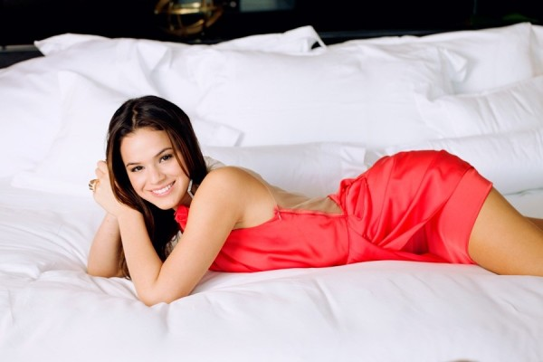Bruna Marquezine in a hot red night dress