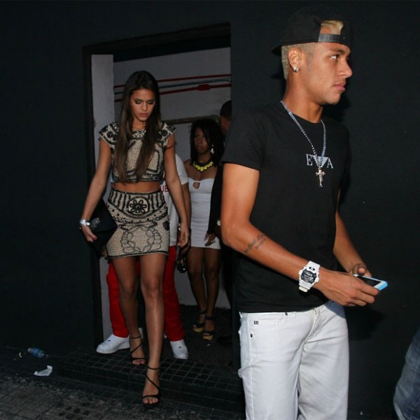 Neymar and Bruna Marquezine leaving a night club