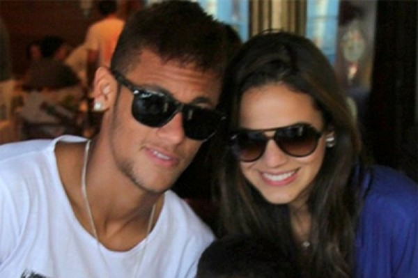 Neymar posing for a photo with his girlfriend Bruna Marquezine