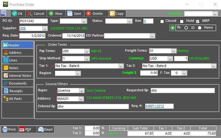 Creating a New Purchase Requisition