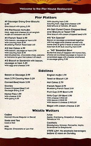 Menu - Nags Head Pier House Restaurant