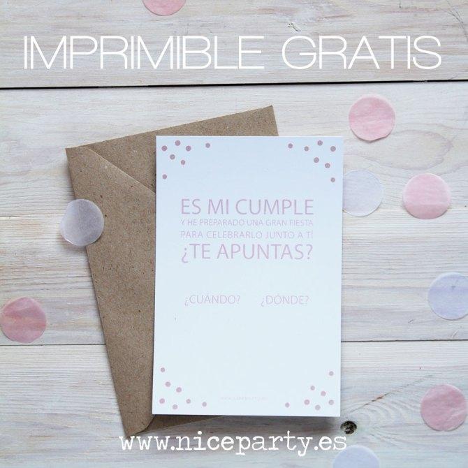 Imprimible gratis: invitación confetti Nice Party