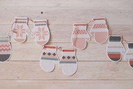 NiceParty Digital imprimible guirnalda de manoplas Printable mittens garland