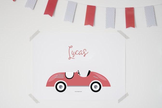 Lamina coche rojo vintage infantil niños