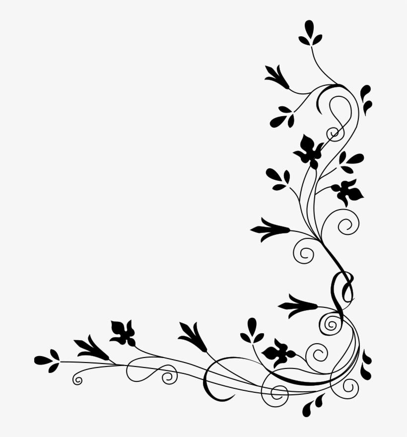 Black Floral Border Png Background Image - Border Designs For
