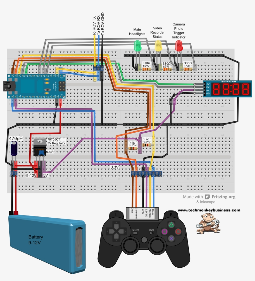 Topside Circuit Breadboard Layout - Arduino Nano Ps2 Controller