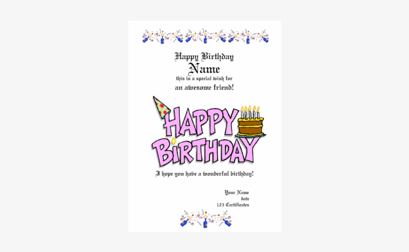 Birthday Gift Certificate Template Free Printable - Happy Birthday
